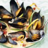 mussels with vegetables and  crème fraîche
