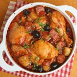 Spanish chicken casserole with chorizo, olives and new potatoes.