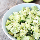 Coupelles concombre, avocat, feta